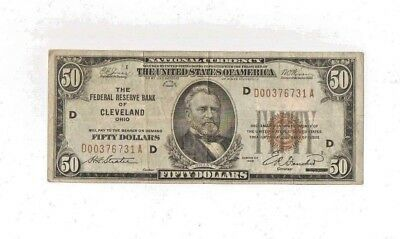 1929 ( $50 ) Fifty Dollar Federal Reserve Bank Of Cleveland Ohio Brown Seal