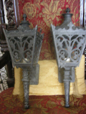 Pair  Vintage Gothic Victorian Ornate Sconce Candelabra Torch Wall  Lamps