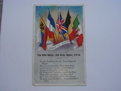 Canada WW1 CEF Military Postcard 30th Batty (8th Howitzer Brigade) CFA
