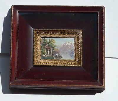Miniature Europe  Swiss 19 Century Oil Painting William Tell Chapel Lake Lucerne