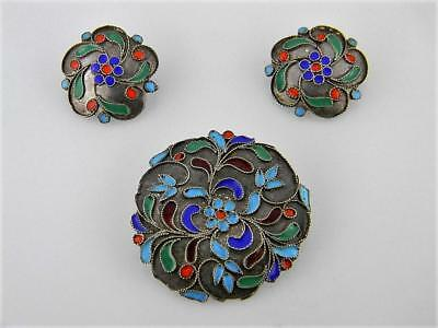 Antique Russian Sterling Silver Enameled Cloisonne Matching Brooch & Earrings