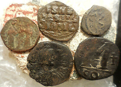 Lot of Five VF Byzantine Coins, Largest 31 mm, Obvious to ID, Christ etc.