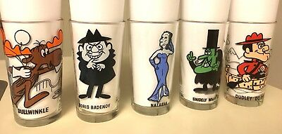 Set Of 5 Vintage Pepsi Collector Glasses Rocky/bullwinkle Cartoon Characters