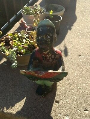 ANTIQUE VINTAGE BLACK AMERICANA LITTLE BOY w/ WATERMELON ~ GREAT PIECE!!