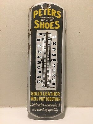 Peters Shoes Porcelain Thermometer Dated 1915 Rare !!!!