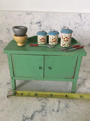 Vintage Dollhouse Buffet Kitchen Dining Cabinet Painted Green Wood Miniatures