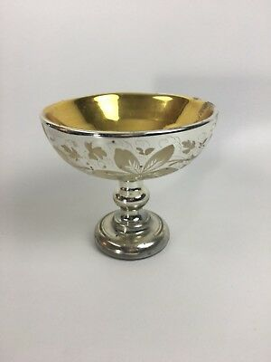Mercury Glass Compote Gilt Interior Enamel Painted Florals Circa 1890