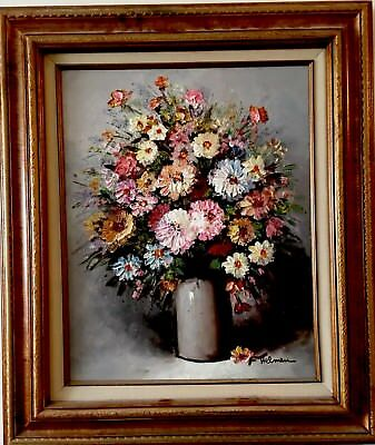 Impressionist Bouquet Flowers Framed Original Oil Painting On Wood Signed