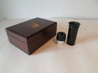 "TWO 1.25"" Telescope Eyepieces(20mm & 6.8->16mm ZOOM) + Wood carved ""GALILEO"" Box"