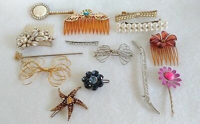 Stunning Vintage To Now Lot Of Hair Combs & Barrettes  Fashion Jewelry Lot