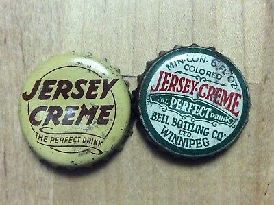 2 Different  Jersey Creme   Soda  Bottle Caps-   Cork Lined - Used