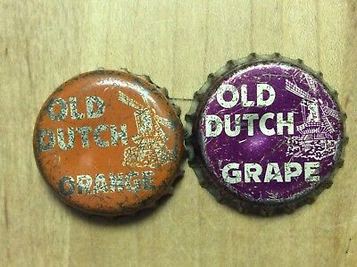 2 Different  Old Dutch  Soda  Bottle Caps-   Cork Lined - Used