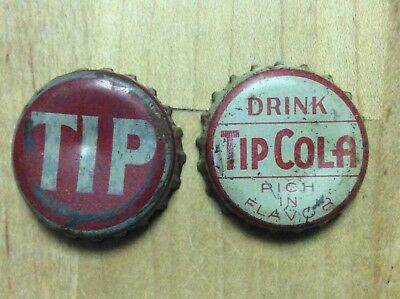2 Different  Tip  Soda  Bottle Caps-   Cork Lined - Used