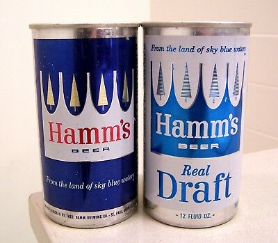 **sharp c. 1960s HAMM'S ziptop/Real Draft beer cans from St. Paul, MN