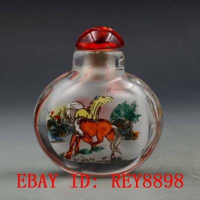 Antique Chinese Glass Internal Hand-painted Horse Snuff Bottles N50