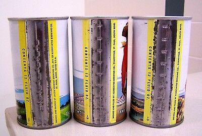"""**3 c. 1960s SCHMIDT scenic """"yellow band"""" indoor SS beer cans from St. Paul, MN"""