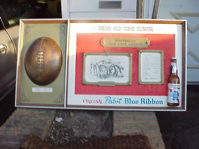 "Pabst Blue Ribbon Sign  "" Footballs Old Time Greats""  34 By 18 Inches Nice Unit"