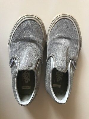 Silver Sparkle Vans Girls Slip On Shoes 11
