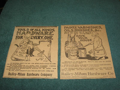 (2) Vintage YELLOW KID Newspaper Ads OUTCAULT Tools Railey-Milam Hardware Co.