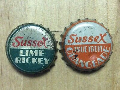 2 Different  Sussex    Soda  Bottle Caps-    Cork Lined - Used