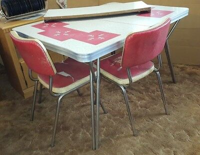 Vintage 1950's Red and White Formica-top Table with leaf and 6 Chairs