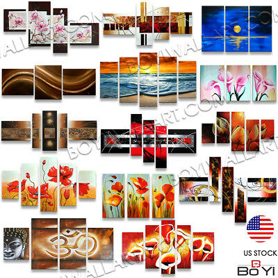 Hand Painted Modern Abstract Floral Oil Painting On Canvas Large Wall Art Framed