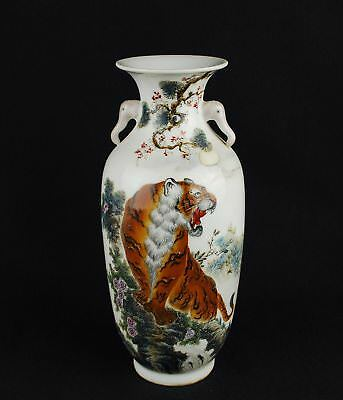 China antique vase Famille Rose hand painted tiger by artist signed circa 1900s