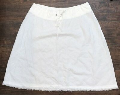 Eileen Fisher Women's White Drawstring Waist A-Line Linen Skirt Plus Size 2X