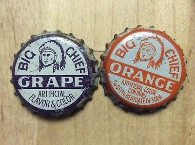 2 Different   Big Chief  Soda  Bottle Caps -   Cork Lined - Used