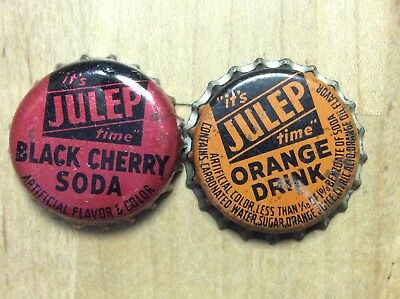 2 Different   Julep  Soda  Bottle Caps -   Cork Lined - Used