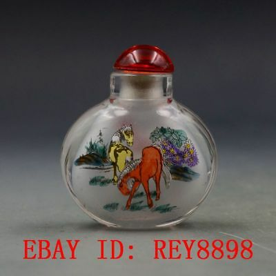 Antique Chinese Glass Internal Hand-painted Horse Snuff Bottles N49