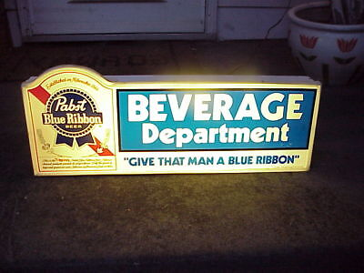 "Pabst Blue Ribbon ""beverage Department "" Lighted Sign"" Works 29 By 11 1/2 Inches"