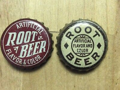 2 Different    Root Beer  Soda  Bottle Caps -   Cork Lined - Used