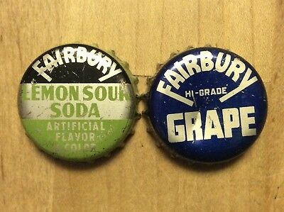 2 Different  Fairbury  Soda  Bottle Caps -   Cork Lined - Used