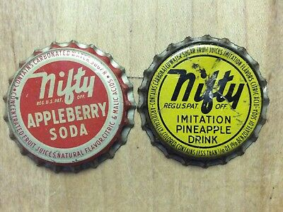 2 Different   Nifty  Soda  Bottle Caps -   Cork Lined - Used