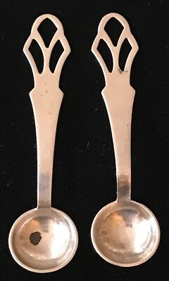 Pair of Vintage G.H. FRENCH & Co. Open Work Handle Sterling Silver Salt Spoons