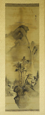 JAPANESE HANGING SCROLL ART Painting Sansui Landscape Buncho's seal  #E2971
