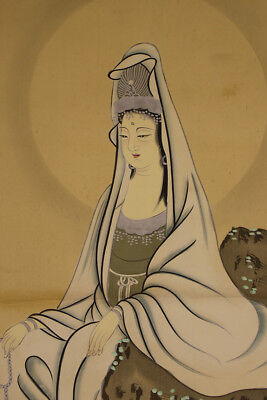 """JAPANESE HANGING SCROLL ART Painting """"Kannon"""" Asian antique  #E2956"""