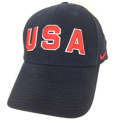 5789785eaea Nike Team USA Hat Olympics Games Cap Logo Baseball Fitted Colorblock Navy  Red