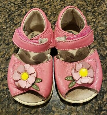 See Kai Run Toddler 6 Hook And Loop Velcro Pink Flower Sandals