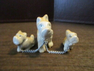 Vintage Ceramic Figurines - Dogs - Westie - Terrier - Chained Trio - JAPAN