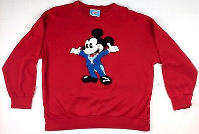 Vintage Comic Relief Men's Red Mickey Mouse Crewneck Sweater Size M-L