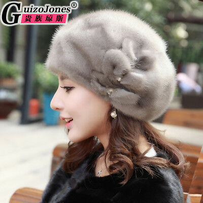 real fur hat female ear protection fashion personality bow warm ear protection