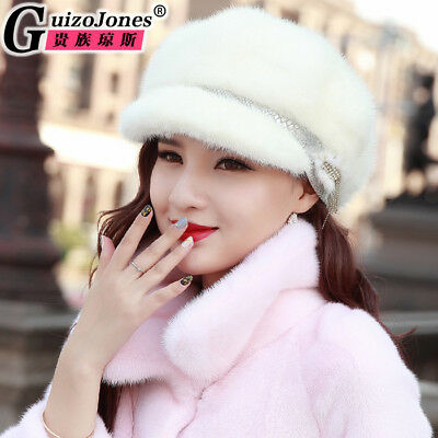 real fur hat new winter warm ladies fashion duck tongue beret soft hat