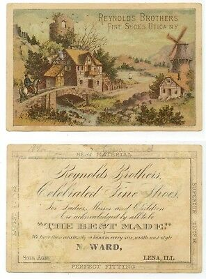 c1880s Reynold's Brothers Fine Shoes trade card N. Ward, Lena, Illinois
