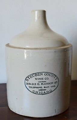 Steuben County Wine Co. Stoneware Jug Red Wing Crock advertising antique vintage