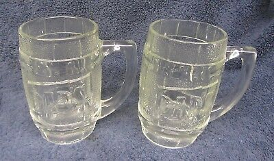2 Vtg DADS Barrel Shaped ROOT BEER MUGS Heavy Glass Glasses 12 oz Soda Barware