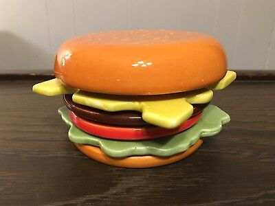 Vintage Cheeseburger Coaster Set, Ceramic & Cork, AWESOME!