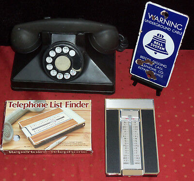 Vintage OLD Telephone Lot - VTG List Finder & 1964 Bell System Porcelain Sign