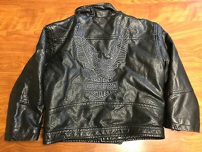 Toddlers Lightly Worn Harley Davidson Motorcycles Faux Leather Jacket Size 4T